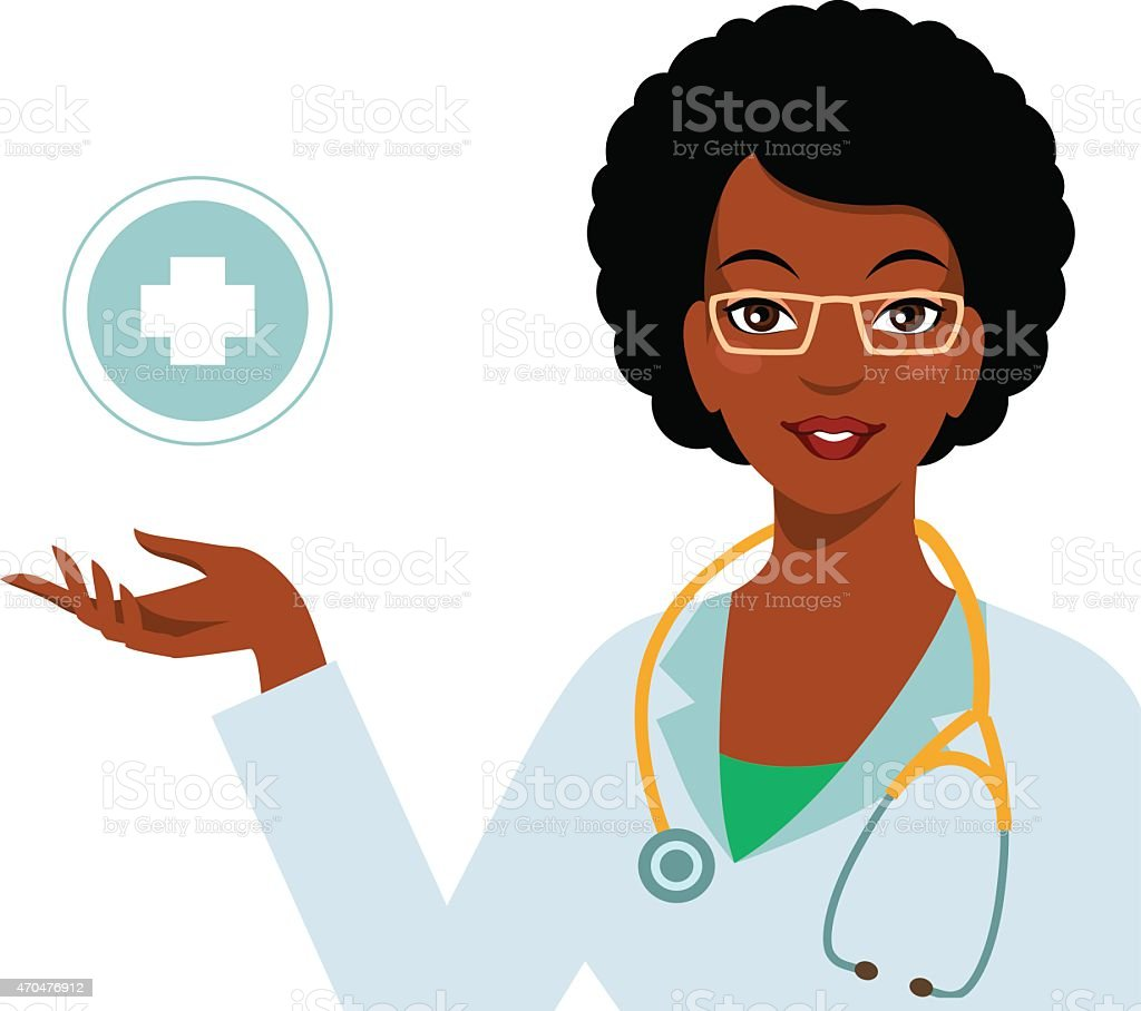 Beautiful african american ethnic woman doctor isolated on white background vector art illustration