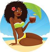 beautiful African American girl on the beach