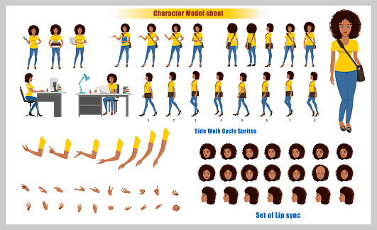 Beautiful African American Girl Student Character Design Model Sheet with walk cycle animation. Girl Character design and turnaround vector