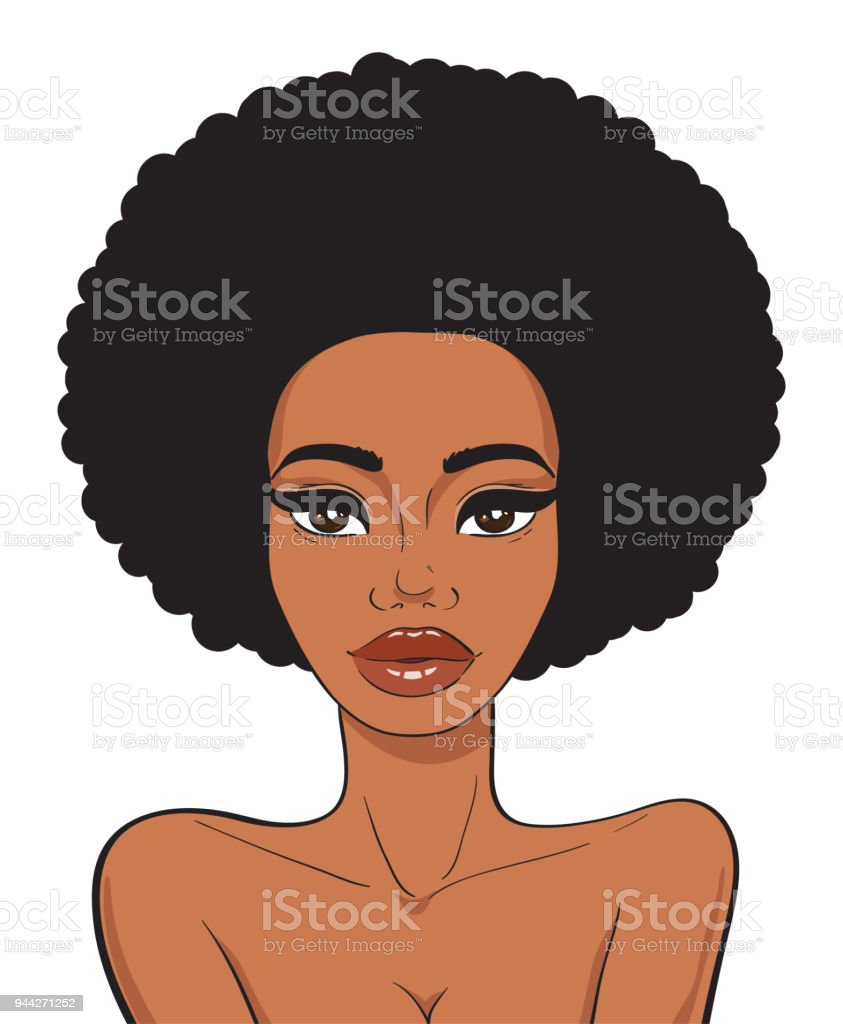 Beautiful african american woman face with afro hair in pop art comics style isolated on white background. Beauty and fashion african girl. vector art illustration