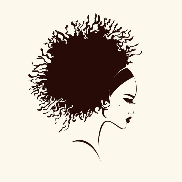 ilustraciones, imágenes clip art, dibujos animados e iconos de stock de hermosa mujer afro americana con afro rizado peinado y maquillaje elegante. logo de vector de salón estilo, belleza y cabello. - cabello negro