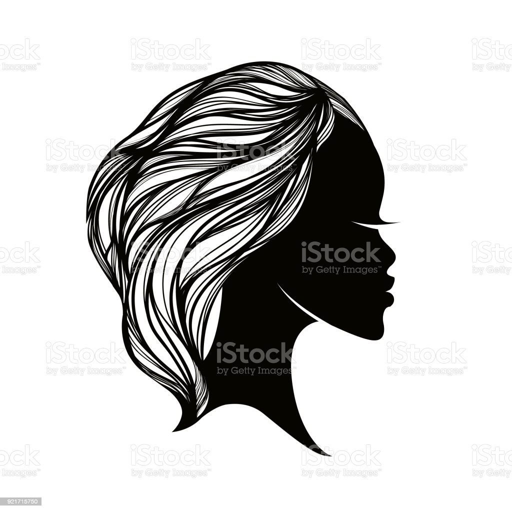 Beautiful African American woman with elegant hairstyle.Hair and beauty salon icon. vector art illustration