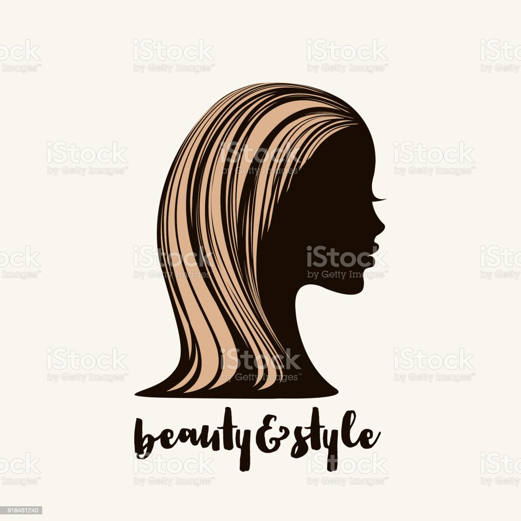 Beautiful African american woman with long, dyed hair.Hair salon vector illustration. vector art illustration