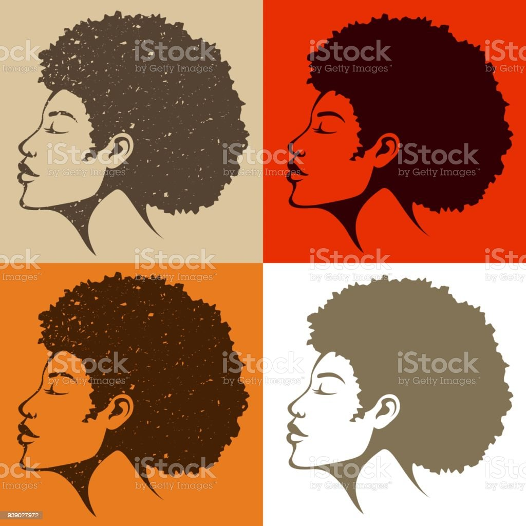 beautiful African American woman with natural hair vector art illustration