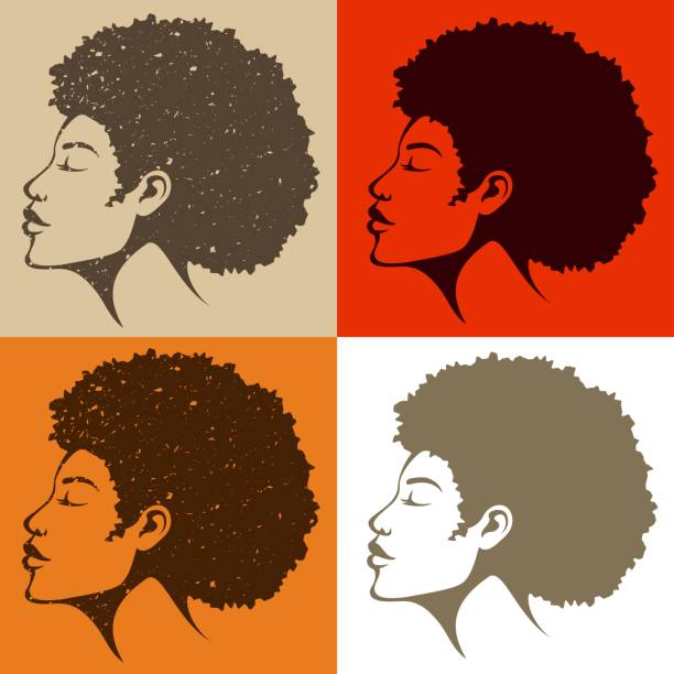 beautiful African American woman with natural hair - ilustração de arte vetorial