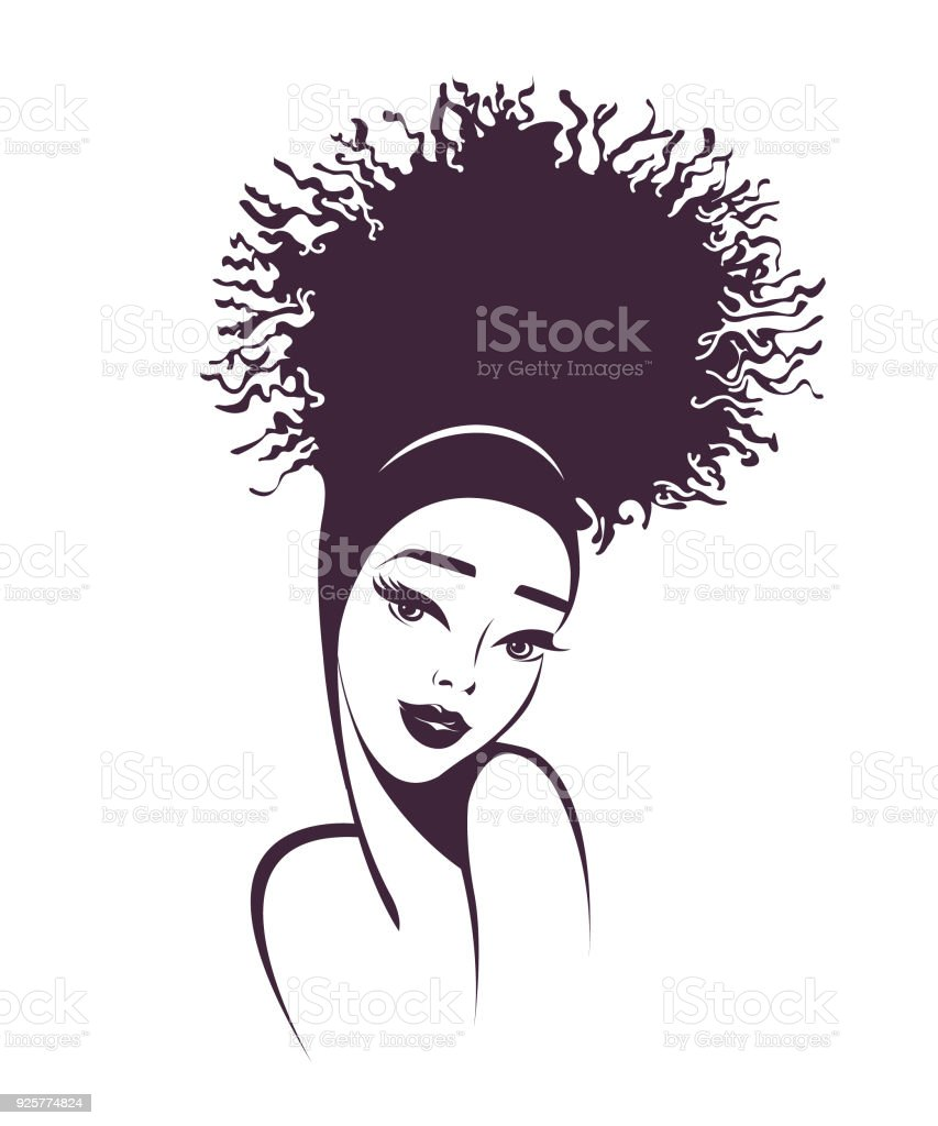 Beautiful African american woman with sophisticated hair bun style and makeup.Beauty and hair salon vector icon. vector art illustration