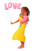Beautiful African mother holding her little daughter. Isolated vector illustration.