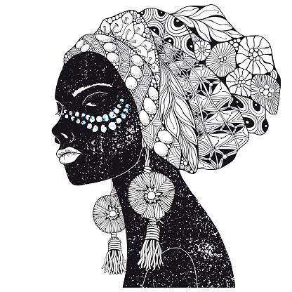 Beautiful african woman. Hand-drawn. Black and white. Coloring book page for adult and children.