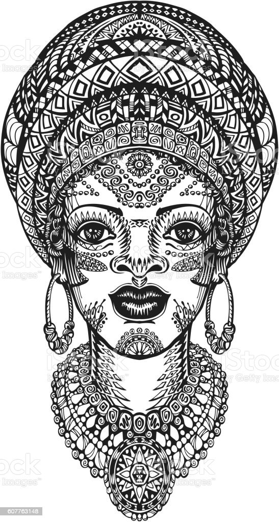Beautiful african woman in turban. Hand drawn vector illustration with ベクターアートイラスト