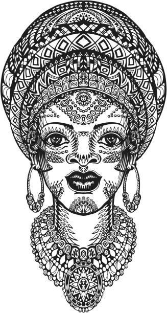 beautiful african woman in turban. hand drawn vector illustration with - kopfschmuck stock-grafiken, -clipart, -cartoons und -symbole