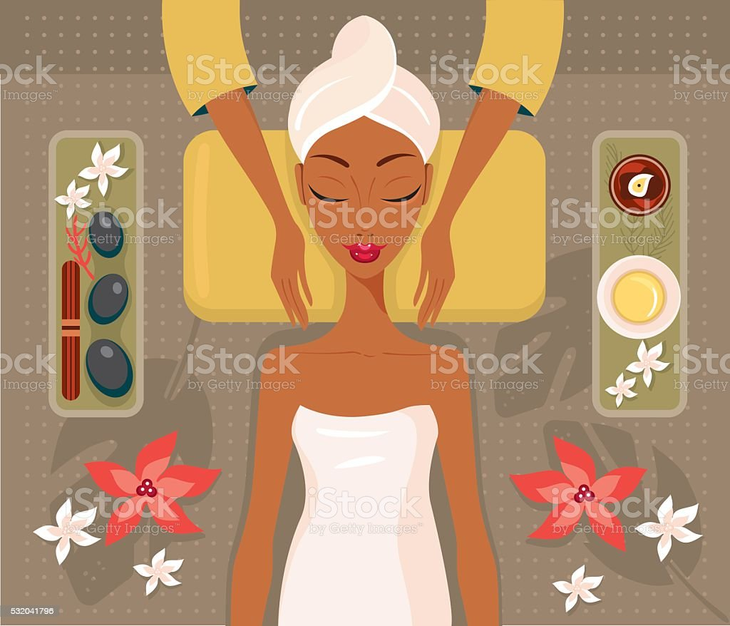 Beautiful African woman relaxing spa salon Face Body massage concept vector art illustration