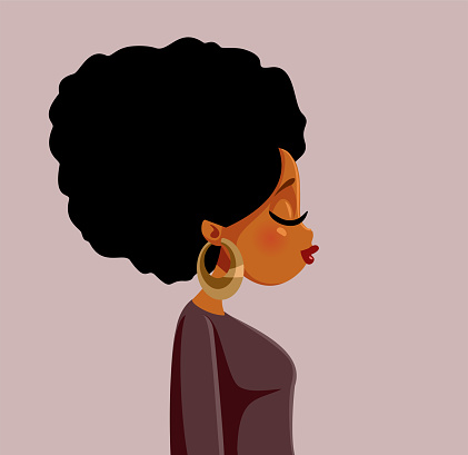 Beautiful African Woman with Afro Hair Vector Illustration