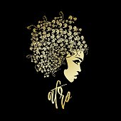 Beautiful African-American woman with big flower wig