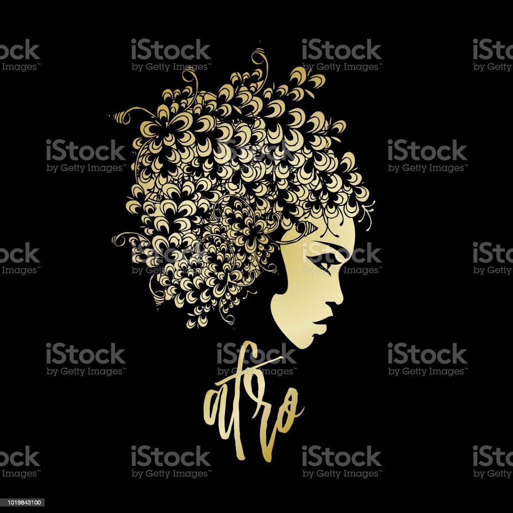 Beautiful African-American woman with big flower wig - illustrazione arte vettoriale