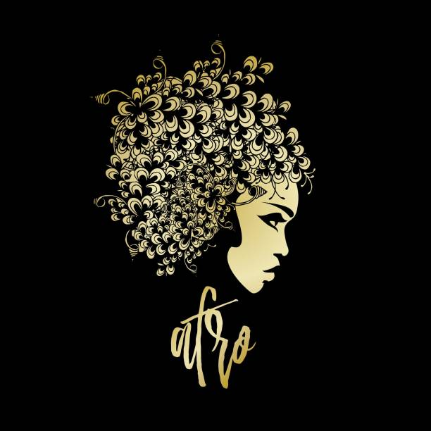 Beautiful African-American woman with big flower wig - ilustração de arte vetorial