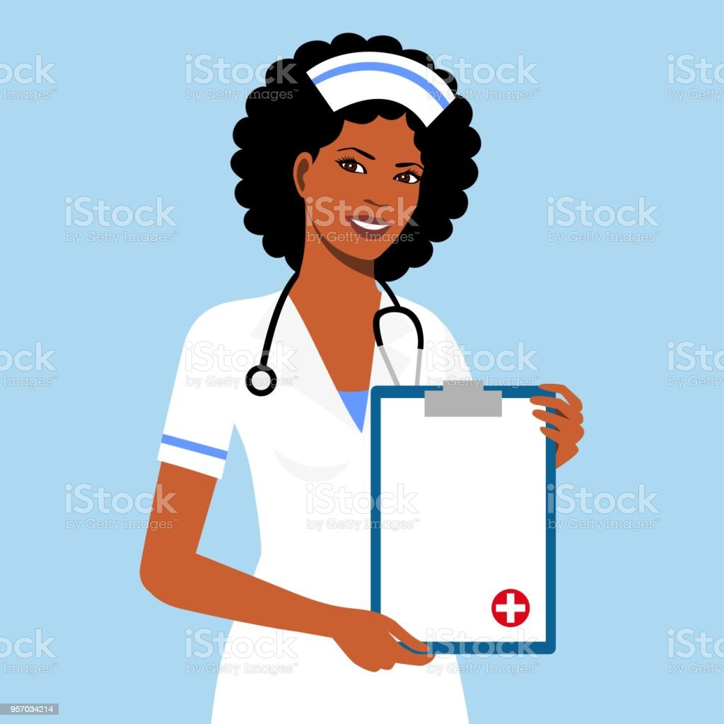 Beautiful afro american female nurse vector art illustration