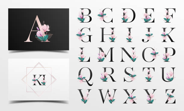 bildbanksillustrationer, clip art samt tecknat material och ikoner med vackra alfabetet samling med akvarell blommig dekoration - lyxig monogram