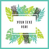 Beautiful and bright tropical frame background. Vector modern illustration