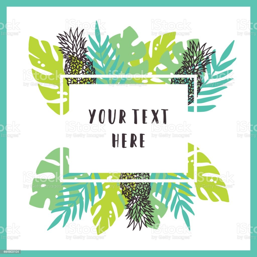 Beautiful and bright tropical frame background. vector art illustration
