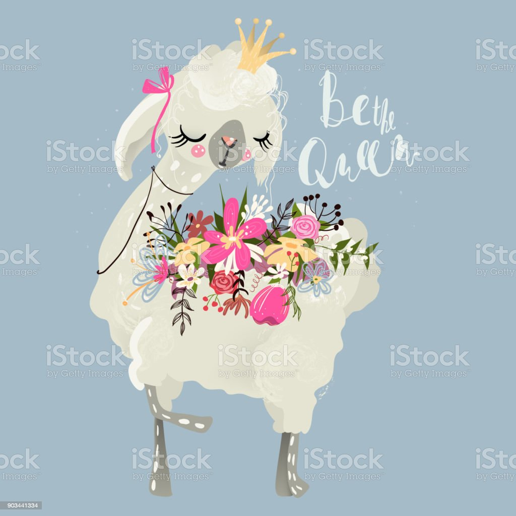 Beautiful and cute llama, alpaca with crown - illustrazione arte vettoriale