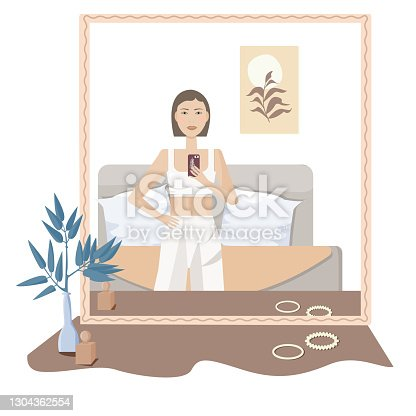 istock beautiful and cute woman in the morning. Vector cartoon illustration 1304362554