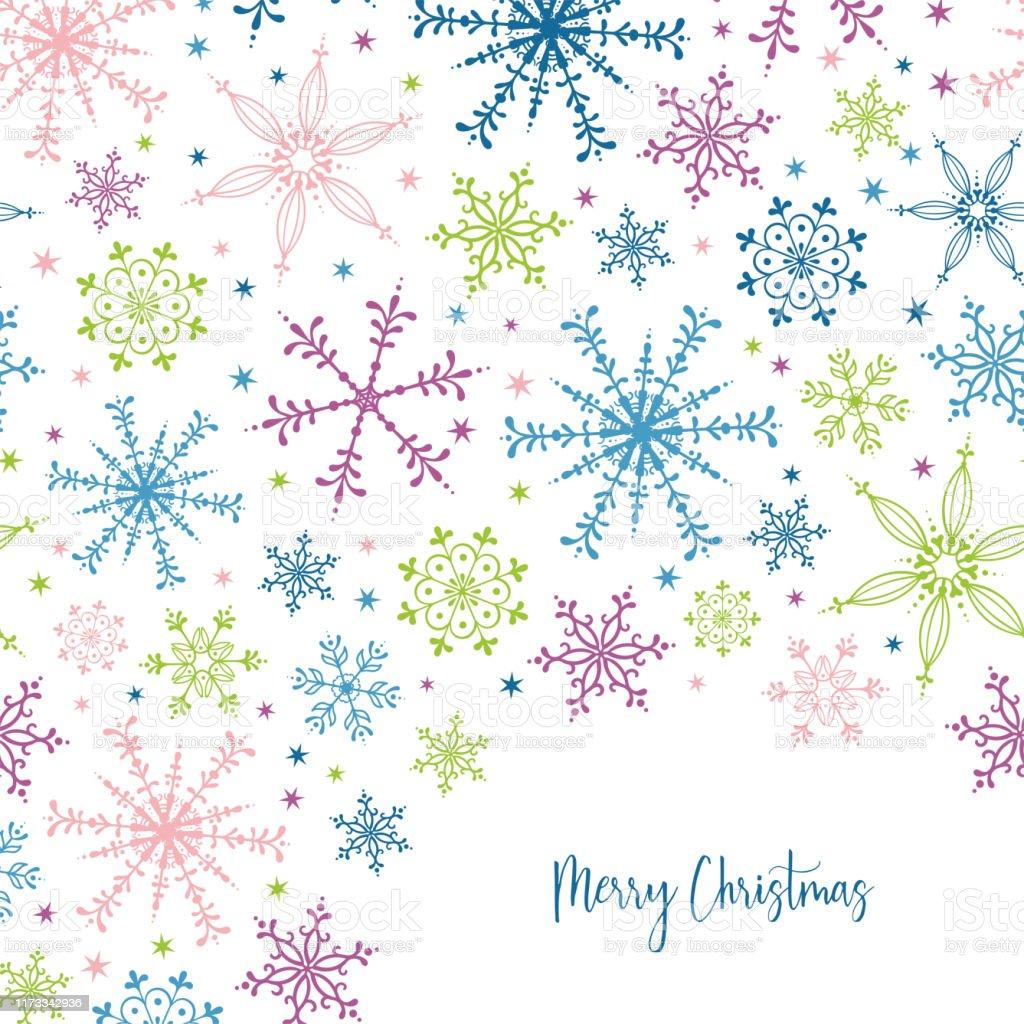 美しく楽しい雪片シームレスなパターン 手描きとカラフルな招待状