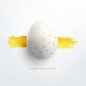 Easter Egg with beautiful original gold painted pattern on it. Photorealistic 3D space effect with gentle light and soft shadows.  Modern original and minimalistic card design. Zoom to see the details. Vector file.