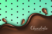 Beautiful and realistic glossy chocolate flow with splash and drops on mint green background with black polka dots and shadow. Vector chocolate background with 3d effect