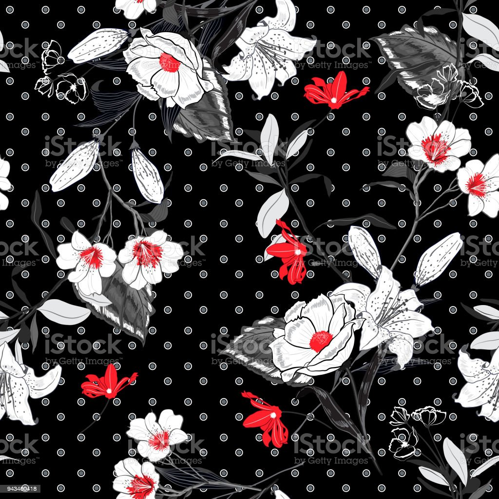 Beautiful And Softy Blooming Black And White Flowers Red Pollen