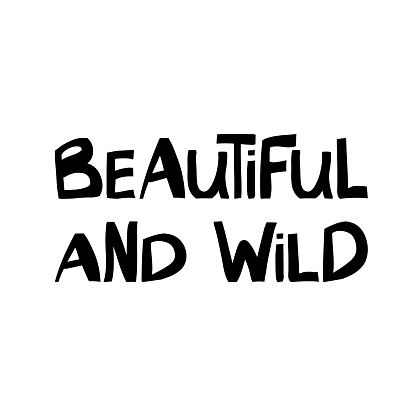 Beautiful and wild. Cute hand drawn lettering in modern scandinavian style. Isolated on white background. Vector stock illustration.