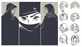 beautiful arabian girls collection, banners and portraits