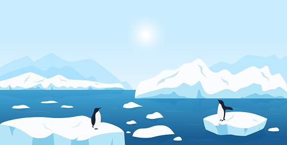 Beautiful Arctic or Antarctic landscape. North scenery with large icebergs floating in ocean and penguins. Snow mountains hills, scenic northern icy nature background.