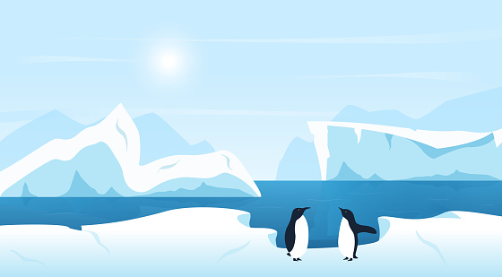 Beautiful Arctic or Antarctic landscape with icebergs and penguins. Cold climate northern icy winter scenic background.