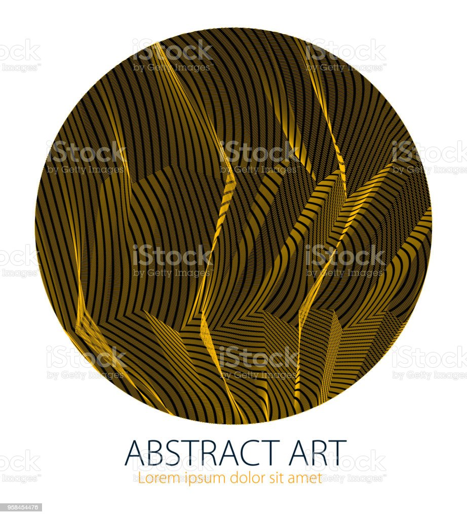 Beautiful art element, linear texture of surface or textile in a shape of circle. Vector abstract 3d perspective background for layouts, posters, banners, print and web. Cool and motional. vector art illustration