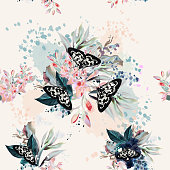 Beautiful artistic pattern with flowers and butterflies in spring peach colors