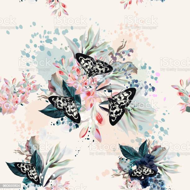 Beautiful artistic pattern with flowers and butterflies in spring vector id960655804?b=1&k=6&m=960655804&s=612x612&h=kl9nj55qz hqr2sjvwkrq3uwm ilenlj7err452vyqy=