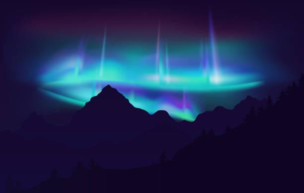 illustrazioni stock, clip art, cartoni animati e icone di tendenza di beautiful aurora borealis northern lights in night sky over mountain. vector illustration. - aurora boreale