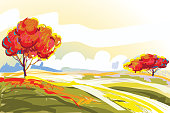 Self illustrated Beautiful Autumn Background, very artistic and manually rendered like a water color technique, all elements are in separate layers and grouped individually. Please visit my portfolio for more options.