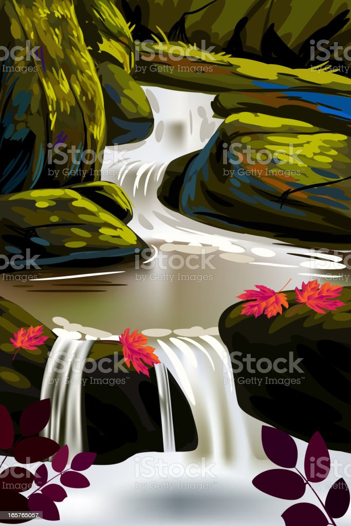 Beautiful Autumn Background/Water Fall royalty-free beautiful autumn backgroundwater fall stock vector art & more images of art and craft