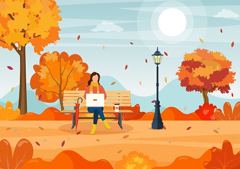 beautiful autumn city park