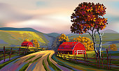 Vector illustration of Beautiful Landscape, all elements are in separate layers and grouped.