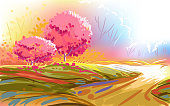 Self illustrated Beautiful Autumn Landscape, very artistic like a water color painting. all elements are in separate layers. Please visit my portfolio for more options. Please visit my portfolio for more options.