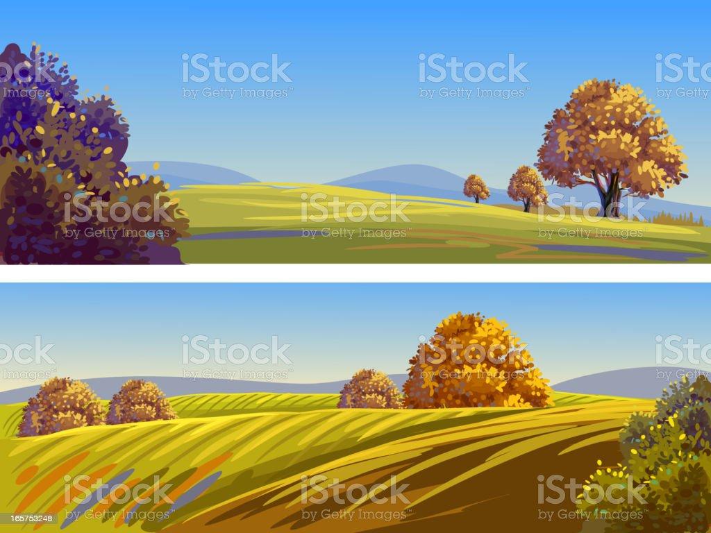 Beautiful Autumn Landscapes/Banners vector art illustration