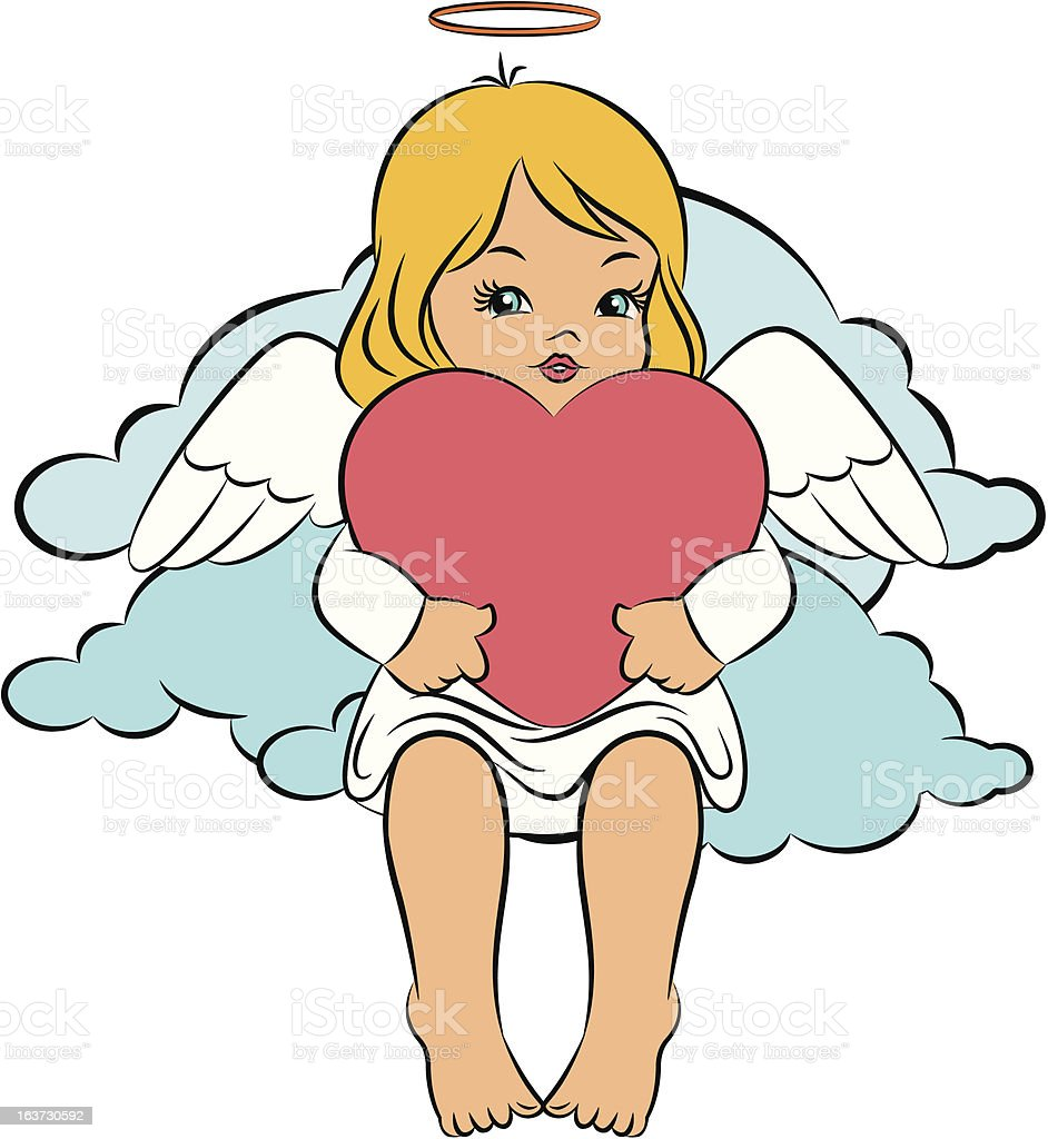 Beautiful baby angel with heart. Vector royalty-free stock vector art