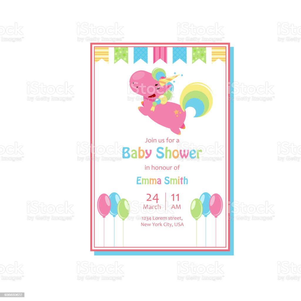 Beautiful Baby Shower Card Template With Cute Unicorn. Vector Cartoon  Illustration For Birthday Invitation Royalty