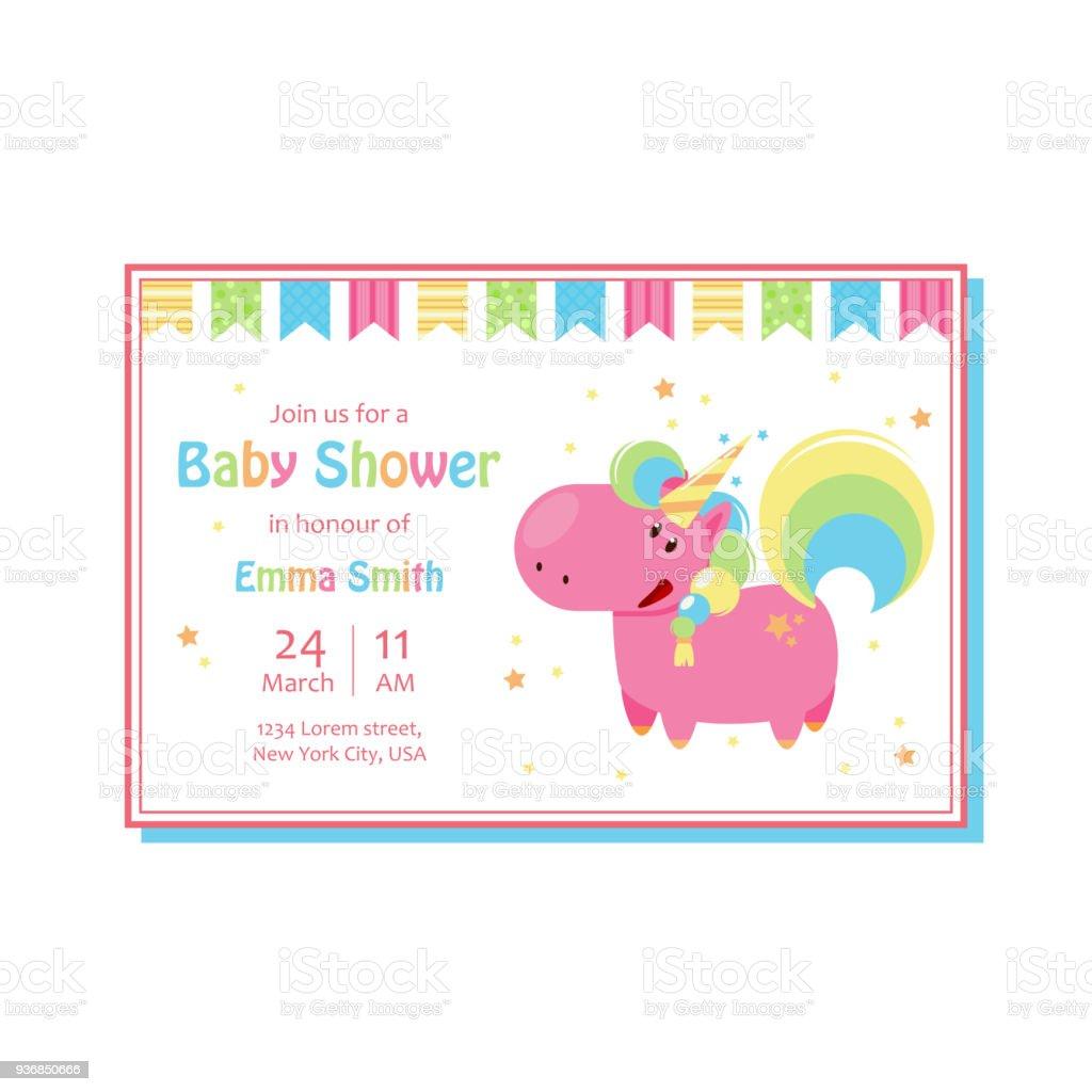 Modele De Carte Bebe Belle Douche Avec Licorne Mignon Illustration