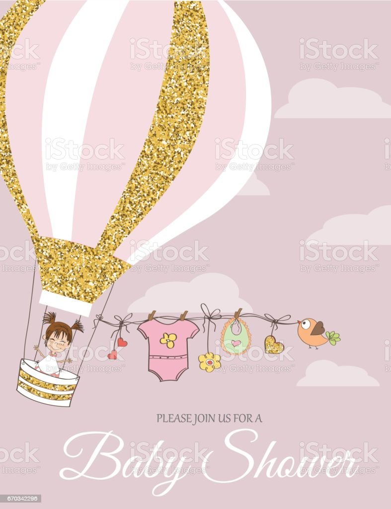 Beautiful  baby shower card template with golden glittering details vector art illustration