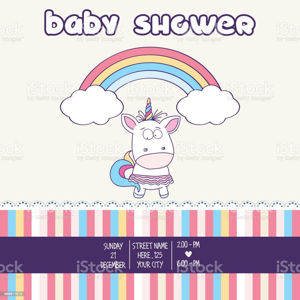 Beautiful Baby Shower Card Template With Lovely Baby Girl Unicorn  Royalty Free Beautiful Baby Shower