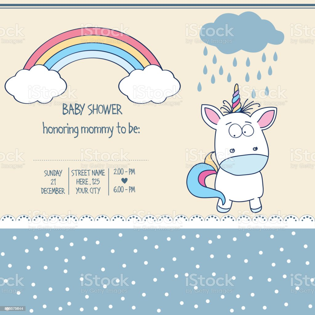 Beautiful Baby Shower Card Template With Lovely Baby Unicorn Stock