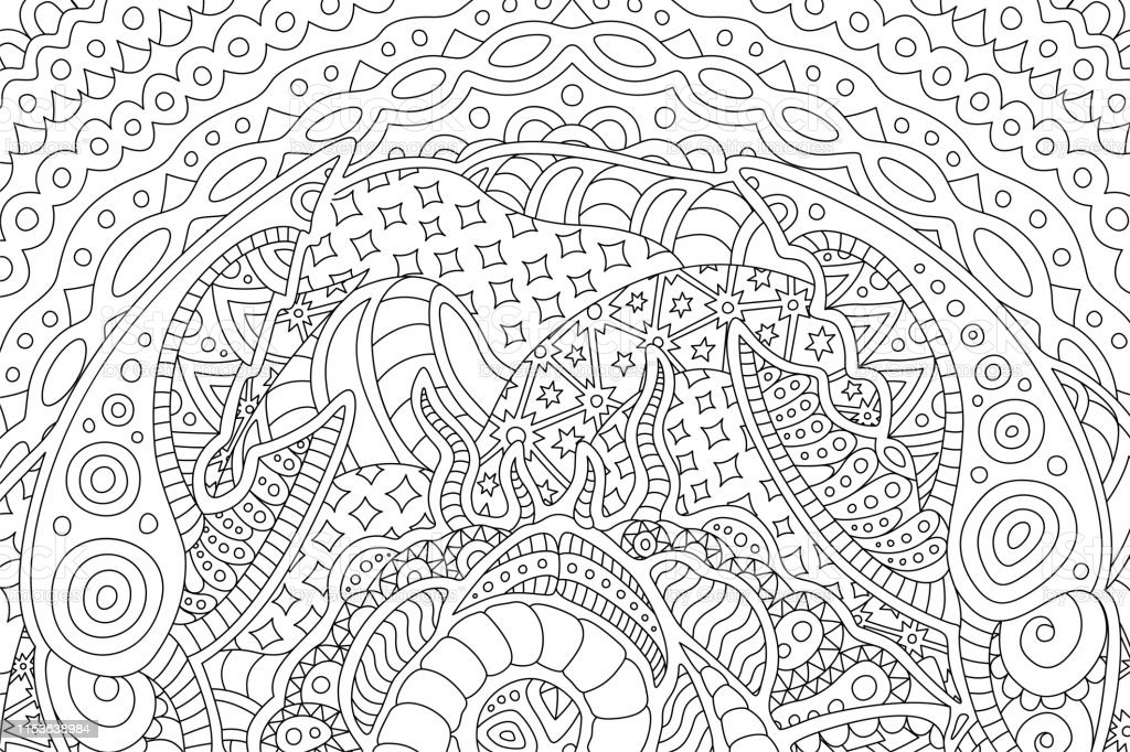 - Beautiful Background For Coloring Book With Cancer Stock Illustration -  Download Image Now - IStock